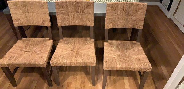 Crate and Barrel kitchen table with bench and chairs