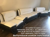 Brand new 3 pcs WHITE AND BLACK SOFA SET  Norcross