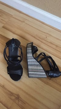 pair of black leather open-toe ankle strap heels Citrus Heights, 95621