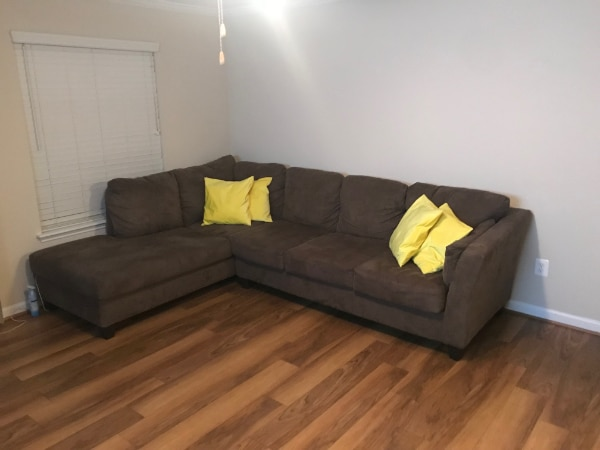 BARELY USED, STYLISH Dark Brown Sectional Sofa + CHASE + QUEEN SLEEPER