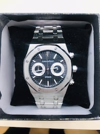 round silver chronograph watch with link bracelet Davie, 33314