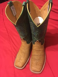 green-and-brown John Deere leather cowboy boots Mercedes, 78570