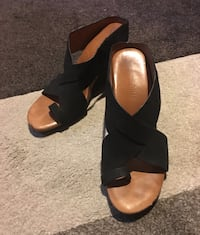 Leather criss cross wedge sandals