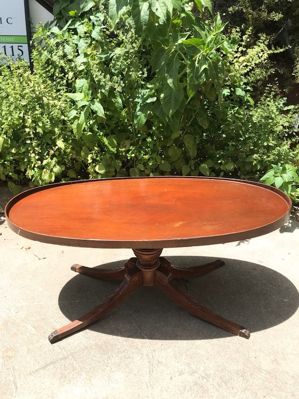 Antique Mid Century Modern Mersman Claw Foot Oval Coffee Table