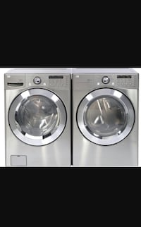 silver front-load washer and dryer set