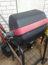 black and red gas grill