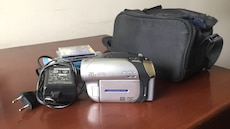 gray camcorder with bag