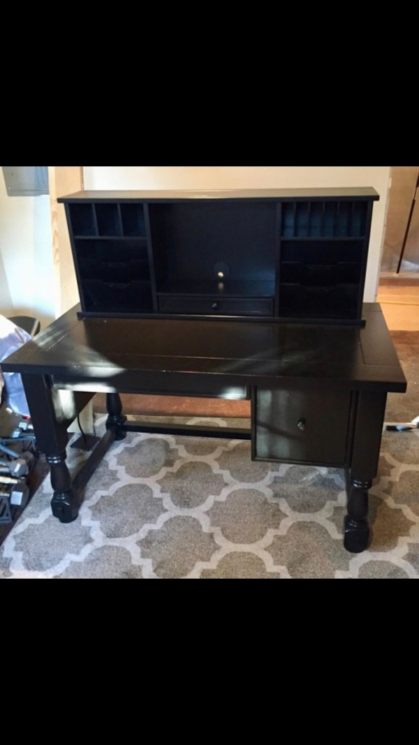 Pottery Barn Aris Desk And Hutch In Black Like New Paid Over 800