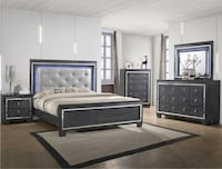 Perina Crownmark B7000 highend gray color LED lighted queen size complete bedroom set OBO College Park