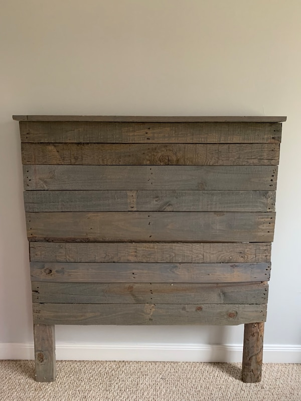 Used Grey washed recycled pallet headboard for sale in ...
