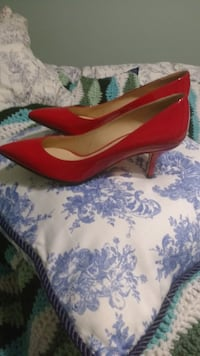 pair of red leather pointed-toe heeled shoes TORONTO