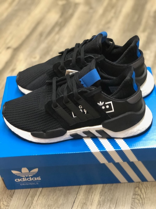 sports shoes 8bb44 18222 Adidas Men's Originals EQT Support 91/18 Running Shoes D97061 Black Blue 7.5
