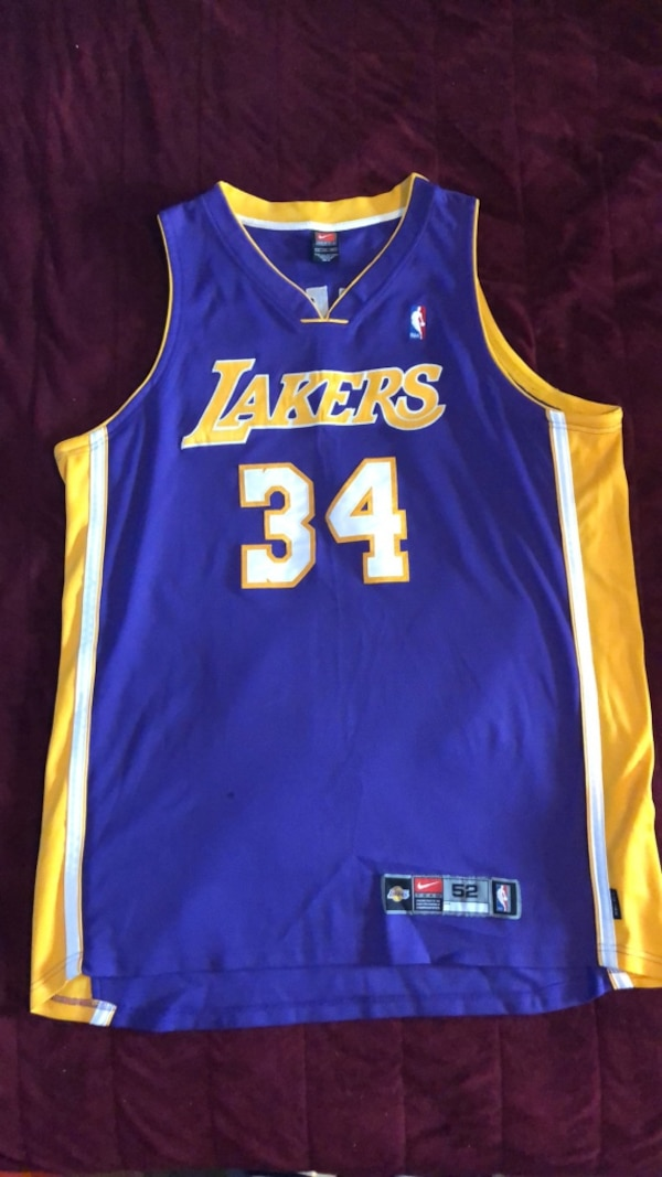new style 4bbfb 92016 Authentic Nike Shaq Lakers Jersey Size 52