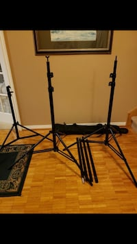 Set of studio lighting tripods with case
