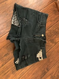 black denim short shorts with black leather belt Spring, 77379