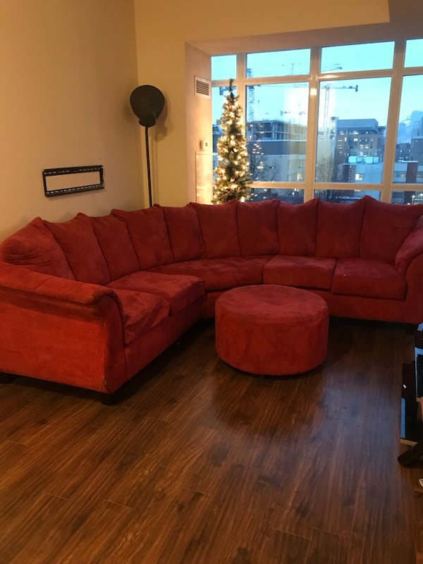High Quality Red Suede Sofa And Ottoman