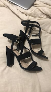 pair of black leather open toe ankle strap heels Scranton, 18510