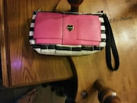 pink and white leather wristlet San Antonio