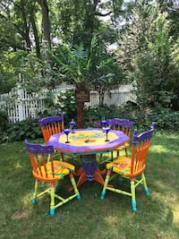 Hand painted table and chairs dining set furniture