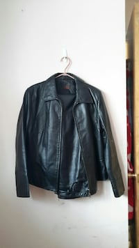 black zip-up collared leather jacket Namao, T0A 2N0
