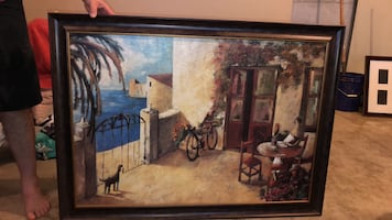 Framed painting  excellent condition. 45 in wide. 33 in tall. Pd $139