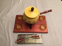 Fondue Set With : Forks, Wooden Tray, 4 Condiments Dishes Edmonton, T6C 4C8