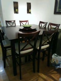 rectangular brown wooden table with six chairs dining set Mississauga, L5N 1T5