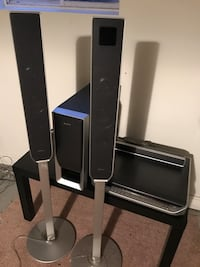Sony surround sound (4 standing speakers, 1 centre, and a 10 inch subwoofer) and cd/dvd 5 disc player.  Awesome sound quality and easy to set up. Zorra, N0M 2M0