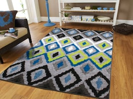 NEW Diamond rug 5x8 green blue 8x11