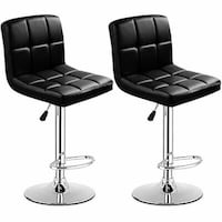 Brand new never used black leather bar stools set of 2