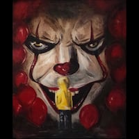 New! Original! Canvas painting, acrylic painting, canvas art modern, small canvas art, it Pennywise, Stephen King art, Pennywise art, hanging wall art, home decoration, wall art 307 mi