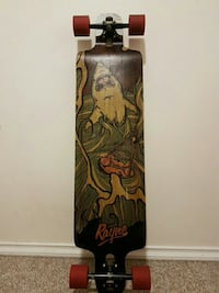 brown and green shark painted Rayne longboard Vancouver, V5R 3W1