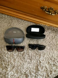 2 pais of sunglasses 1) Prada Exflips 2) Guess Platinum