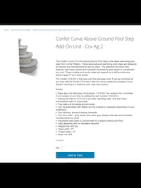 Confer curve above ground pool step add-on Poughkeepsie town, 12601