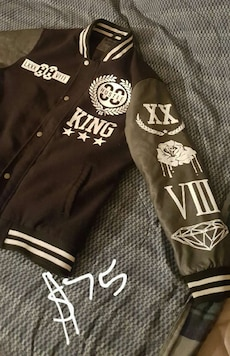 black and gray hustle king jacket