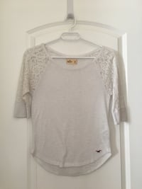 White Hollister shirt, lace sleeves
