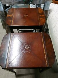 Antique laether top end tables Argo