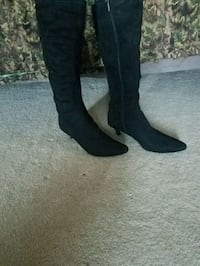 New pair of black suede heeled knee-high boots Hesperus, 81326