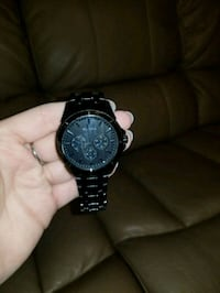 round black chronograph watch with link bracelet Las Cruces, 88005