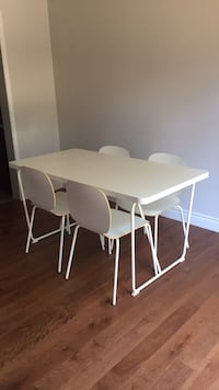 Rectangular white wooden table with four chairs Burlington