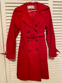 New Sleek Trina Turk Red Trench Coat with Lining