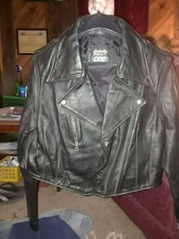 black leather zip-up jacket Bruceville-Eddy
