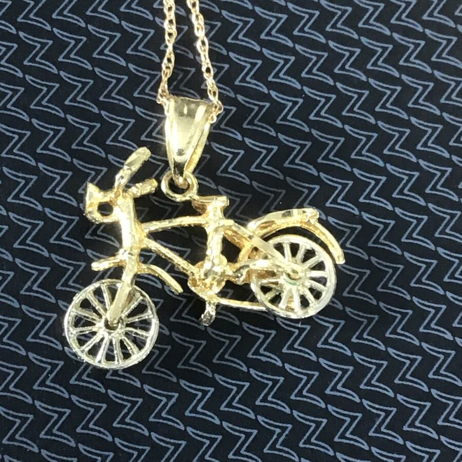 JC  14K Yellow Solid Gold Bicycle Necklace  Pendant on 14K gold chain