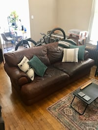 Dark Chili Leather Couch