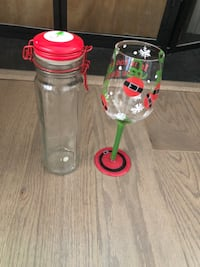 Christmas wine glass and container