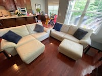 Cream Leather Sofa Set w/ Ottomans and End Tables