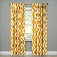 Yellow pattern curtain. 4-panels Quincy