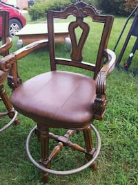 brown wooden framed brown leather padded armchair Silver Spring, 20902