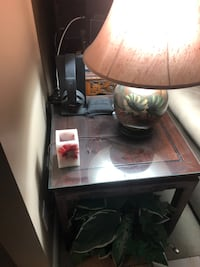 2 Side tables with glass protection