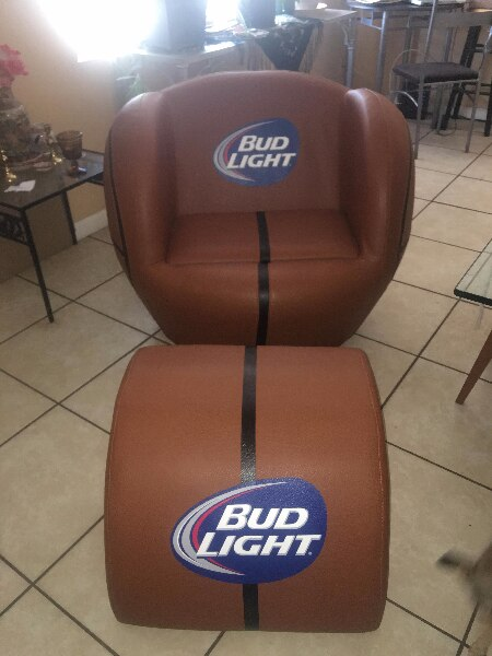 Superbe Bud Light Basketball Chair With Ottoman And Hidden Cooler